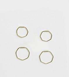 Шестиугольные серьги-кольца из позолоченного серебра Kingsley Ryan - 2 пары - Золотой