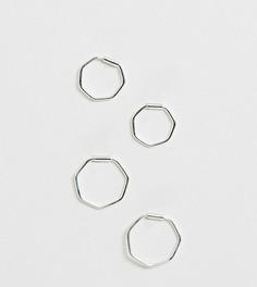 Серебряные шестиугольные серьги-кольца Kingsley Ryan - 2 пары - Серебряный