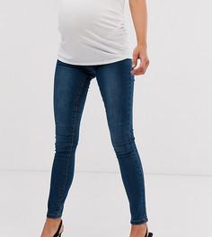 Зауженные джинсы с эластичными вставками на поясе Mamalicious - Синий Mama.Licious