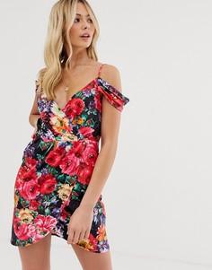 Платье мини с запахом и цветочным вырезом Parisian - Мульти