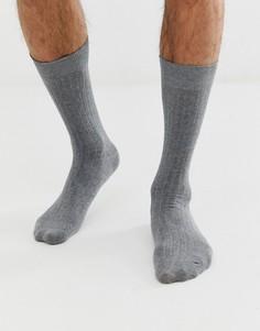 Серые носки в рубчик Selected Homme - Серый