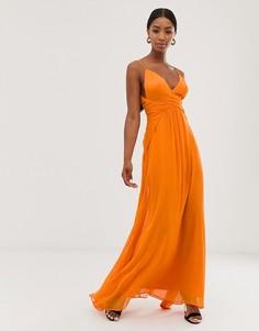 Платье макси на бретельках с многослойной юбкой и сборками на лифе ASOS DESIGN - Оранжевый