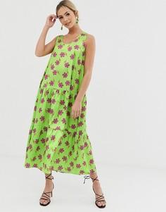 Зеленое платье миди А-силуэта с цветочным принтом Liquorish - Зеленый