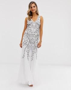 Платье макси с глубоким вырезом и пайетками City Goddess - Белый