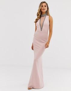 Платье макси с высоким воротником и отделкой City Goddess - Stephanie Pratt - Бежевый