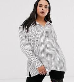 Эксклюзивная атласная oversize-рубашка в горошек Missguided Plus - Мульти