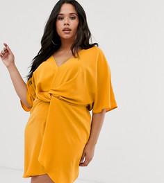Желтое платье с перекрутом Missguided Plu - Желтый