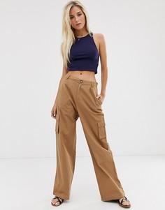 Коричневые широкие брюки с накладными карманами Daisy Street - Коричневый