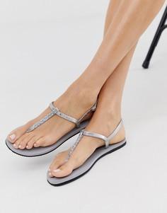 Серебристые сандалии с перемычкой между пальцами и блестками Havaianas - Серебряный