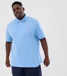 Голубое поло из пике с логотипом Polo Ralph Lauren Big & Tall - Синий