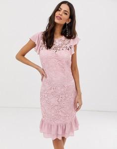 Платье миди с кружевом и баской по краю Paper Dolls - Фиолетовый