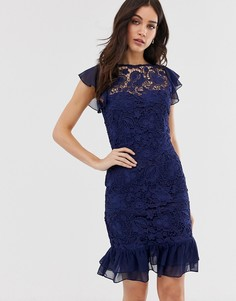 Кружевное платье миди с короткими рукавами Paper Dolls - Темно-синий
