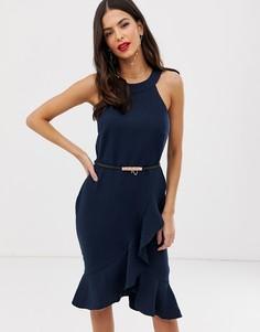 Платье миди с ремешком и оборками Paper Dolls - Темно-синий