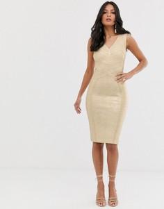 Золотистое бандажное платье миди с глубоким вырезом Lipsy - Золотой
