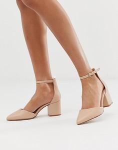 Кожаные туфли на блочном каблуке Aldo - Бежевый