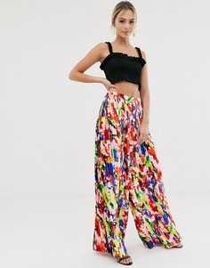 Широкие плиссированные брюки с абстрактным цветочным принтом Liquorish - Мульти