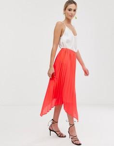 Ярко-коралловая юбка миди с плиссированной отделкой Liquorish - Розовый