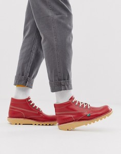 Красные кожаные высокие ботинки Kickers - Красный
