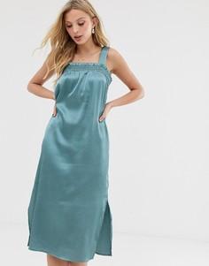 Атласное платье миди со сборками Y.A.S - Зеленый