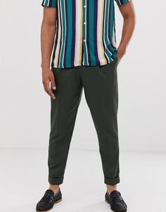 Зеленые строгие брюки со складками Topman - Зеленый