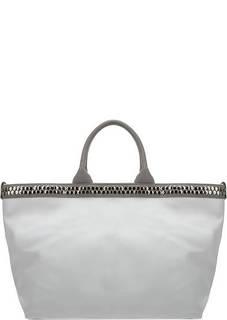 Сумка Вместительная кожаная сумка белого цвета Io Pelle