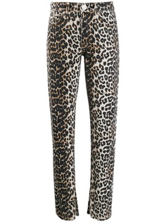 Ganni джинсы кроя слим с леопардовым принтом