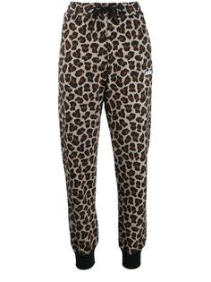 MSGM спортивные брюки с леопардовым принтом