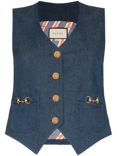 Gucci джинсовый жилет с декором Horesbit