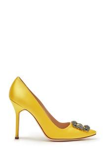 Желтые атласные туфли Hangisi 105 Manolo Blahnik