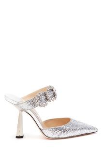 Серебристые туфли с глиттером и кристаллами Smokey 100 Jimmy Choo