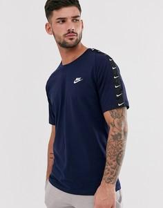 Темно-синяя футболка с фирменной лентой Nike - Темно-синий
