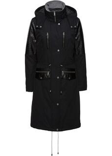 Пальто Парка со вставками из искусственной кожи Bonprix