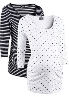 Одежда для беременных Футболка из биохлопка с рукавами 3/4 для будущих мам (2 штуки в упаковке) Bonprix