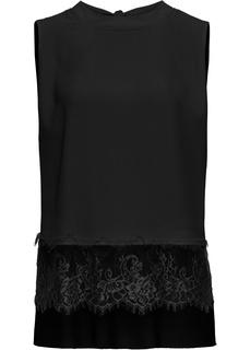 Блузки с коротким рукавом Блузка с кружевной отделкой Bonprix
