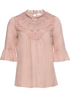 Блузки с длинным рукавом Блузка с кружевной отделкой Bonprix