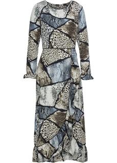 Платья с длинным рукавом Платье с анималистичным принтом Bonprix