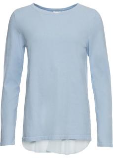 Пуловер с шифоновой вставкой Bonprix