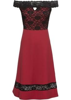 Короткие платья Платье с широким вырезом и кружевом Bonprix