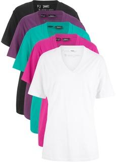 Футболки с V-образным вырезом Удлиненная футболка с коротким рукавом (5 шт.) Bonprix