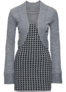 Пуловеры с V-образным вырезом Пуловер с имитацией жакета болеро Bonprix