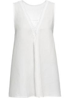 Блузки с коротким рукавом Топ с содержанием льна Bonprix