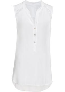 Блузки с коротким рукавом Топ с кружевной отделкой Bonprix