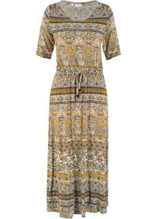 Длинные платья Платье макси с V-вырезом и принтом Bonprix