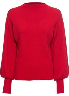 Пуловеры с круглым вырезом Пуловер вязаный с рукавами-баллонами Bonprix