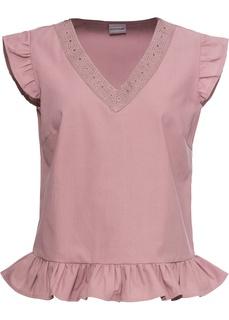 Блузки с коротким рукавом Блузка с кружевом из хлопка Bonprix