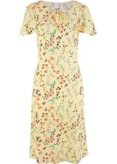 Платья с коротким рукавом Платье миди с рукавами-воланами Bonprix