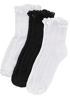 Носки и гетры Носки короткие с кружевом (3 пары) Bonprix