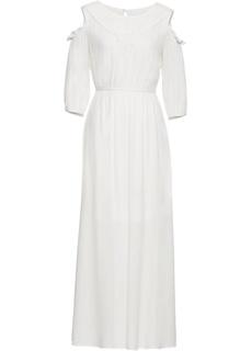 Длинные платья Платье с кружевом и вырезами на плечах Bonprix