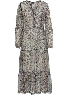 Платья с длинным рукавом Платье прозрачное с принтом Bonprix