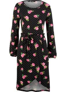 Короткие платья Платье из трикотажа с цветочным принтом Bonprix